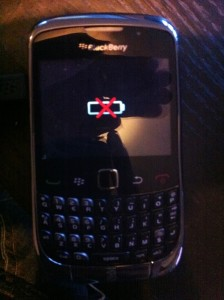 red crossed blackberry battery